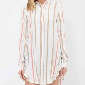 Lumiere Striped Button Down W/Side Slits